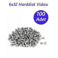6x32 Harddisk Vidası - 100 Adet - Siyah