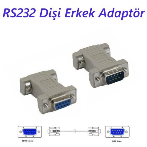RS232 Dişi Erkek Adaptör DB9 Erkek to DB9 Dişi Null Modem Adapter