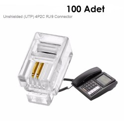 Rj11 Rj9  2 Pin Telefon Kablosu Konnektörü 100 Adet