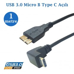 Usb Açılı Type C Usb Micro B Data Şarj Kablosu 1 Metre