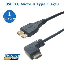 Açılı Type C  Usb Micro B Data Şarj Kablosu 1 Metre