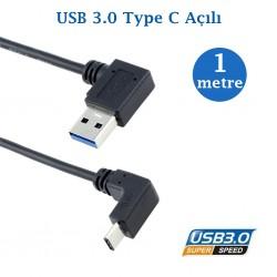 USB 3.0 Açılı Erkek Type C Açılı Erkek Data Şarj Kablosu 1 Metre