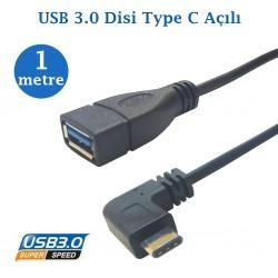 Type C Erkek  Usb 3.0 Dişi Kablo 1 Metre