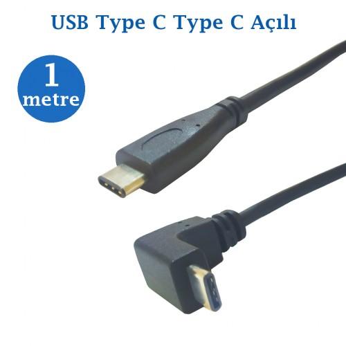 Type C Erkek Type C Açılı Erkek Data Şarj Kablosu 1 Metre