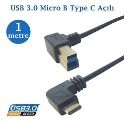 Type C Erkek Usb 3.0 B Erkek Data Kablosu 1 Metre