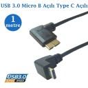 Type C Erkek Açılı  Usb Micro B Data Şarj Kablosu 1 Metre