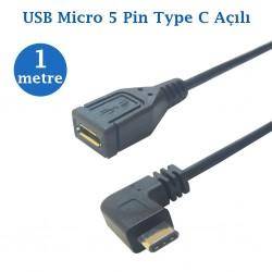 Type C Erkek Micro Usb Dişi  Kablo 1 Metre