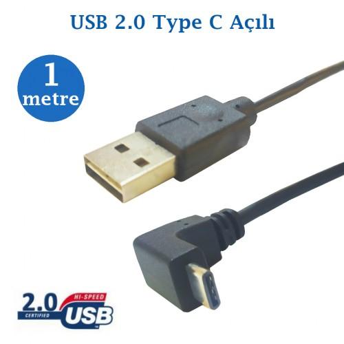 Usb 2.0 Erkek Type C Açılı Data Şarj Kablosu 1 Metre