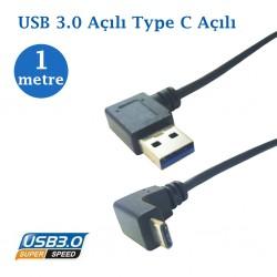 Usb 3.0 Erkek Type C Açılı Data Şarj Kablosu 1 Metre