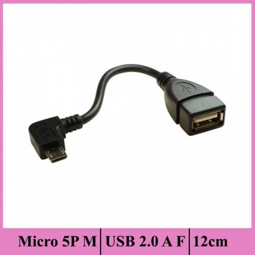 Mikro 5P M Köşeli Başlık / USB 2.0 A F - 12CM - Nickel/Black