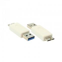 USB 3.0 A M / Micro B M Dönüştürücü - Nickel/White
