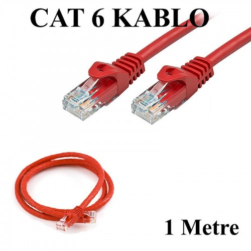 CAT 6 Patc Ethernet Kablo 23AWG Fabrikasyon - 1 Metre - Kırmızı
