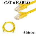 CAT 6 Patc Ethernet Kablo 23AWG Fabrikasyon - 3 Metre - Sarı