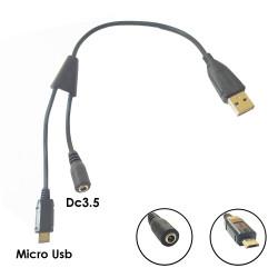 Usb Erkek To Micro usb Erkek DC3.5 Dişi Kablo 25 Cm